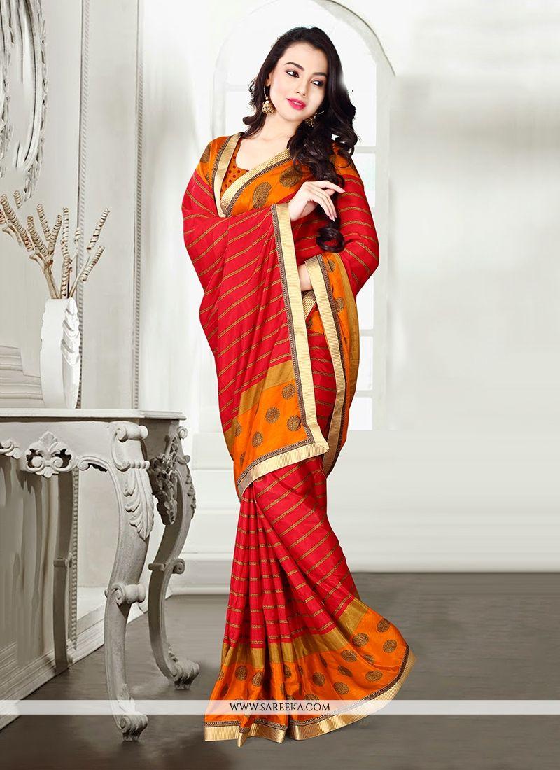 Satin Red Print Work Designer Saree