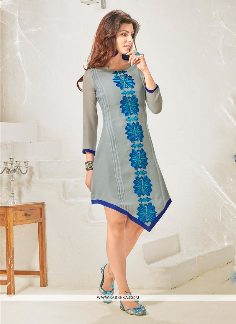 1d04b6ae8b Buy Grey Cotton Satin Designer Kurti Online : Indian Ethnic Wear -