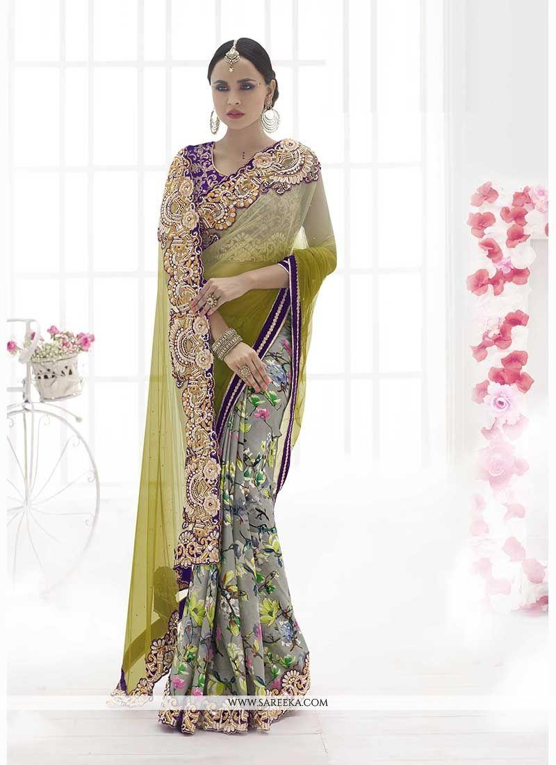 Net Grey Classic Designer Saree