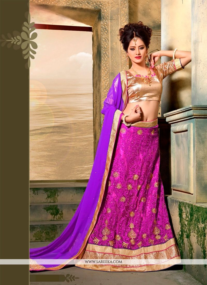 Net Purple A Line Lehenga Choli