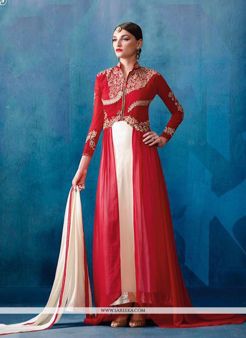 Buy Off White and Red Patch Border Work Designer Salwar Suit Online ...