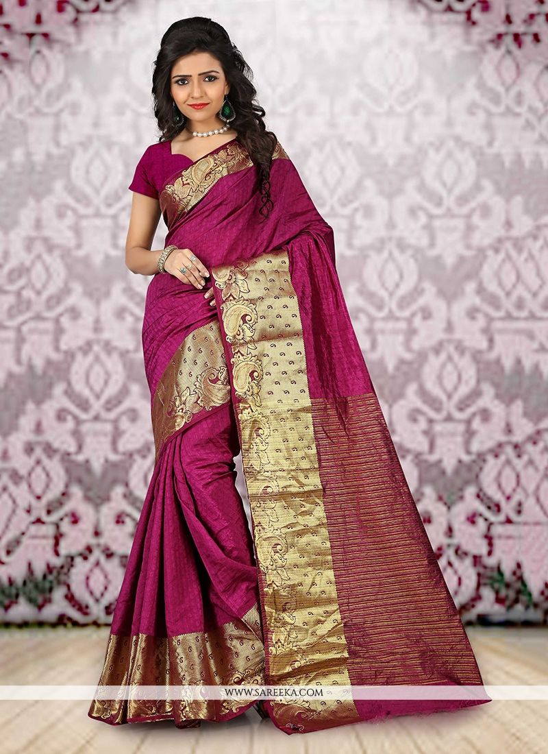 Wine Patch Border Work Casual Saree