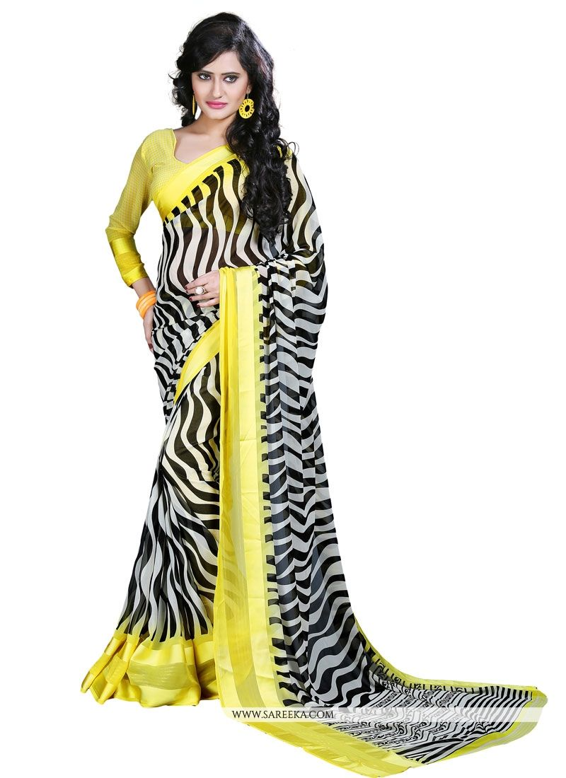 Black and Yellow Print Work Georgette Casual Saree