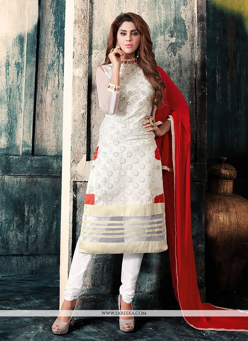 680a90431 Buy Embroidered Work Off White Churidar Designer Suit Online   Italy -