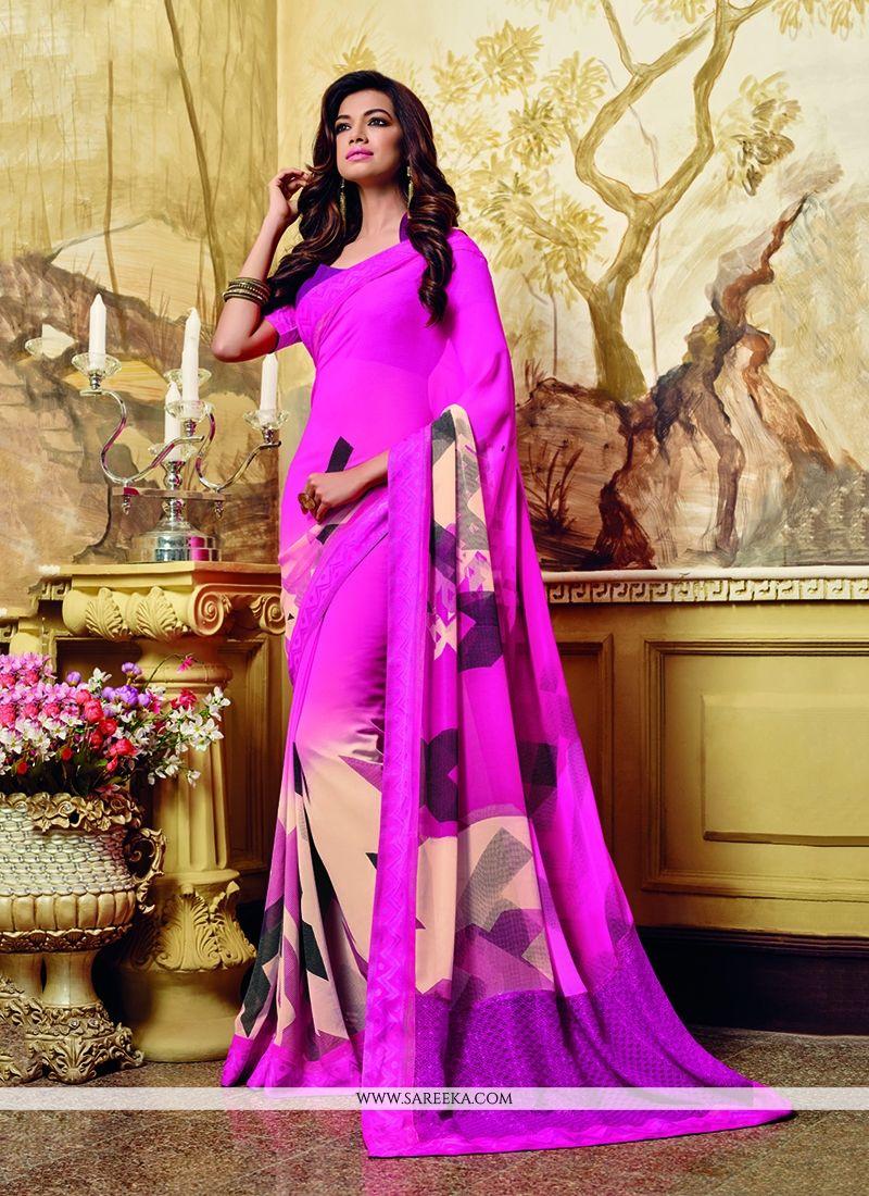 Georgette Hot Pink Print Work Printed Saree