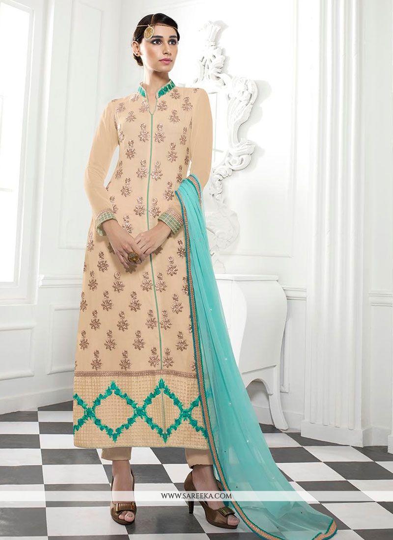 Georgette Patch Border Work Designer Straight Salwar Kameez