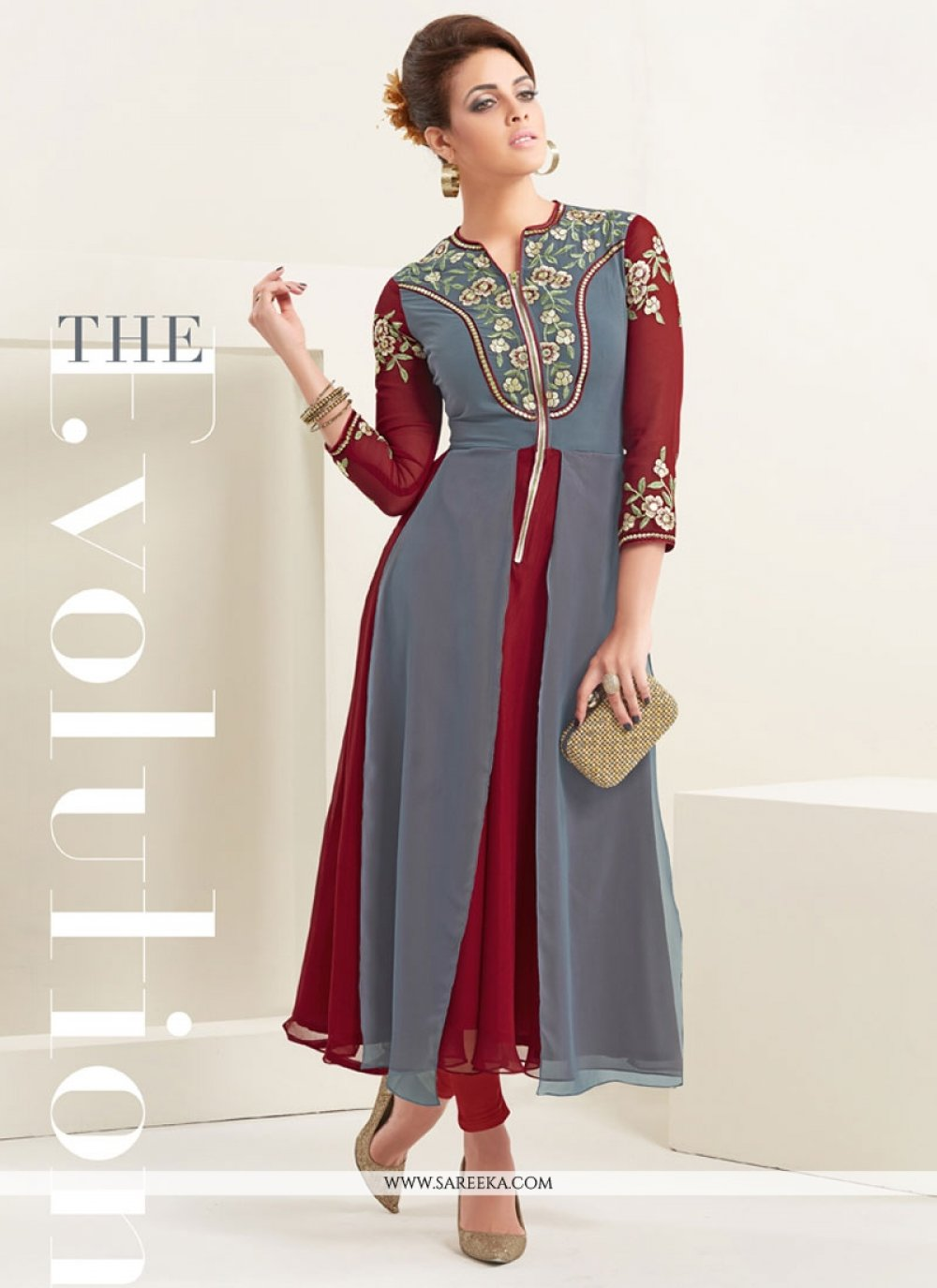 Grey and Maroon Embroidered Work Georgette Party Wear Kurti