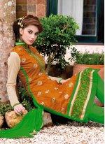 Lace Work Chanderi Orange Churidar Suit