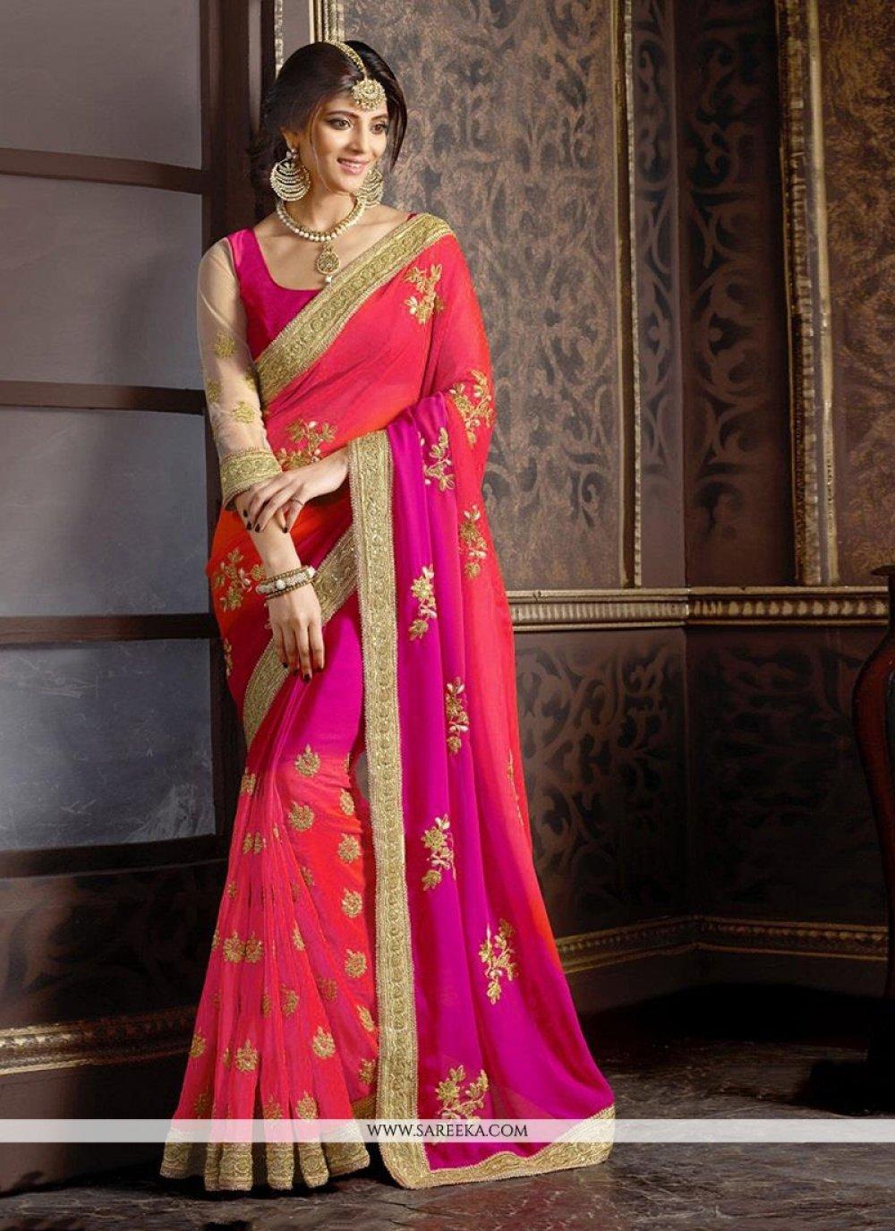 Patch Border Work Hot Pink Trendy Saree