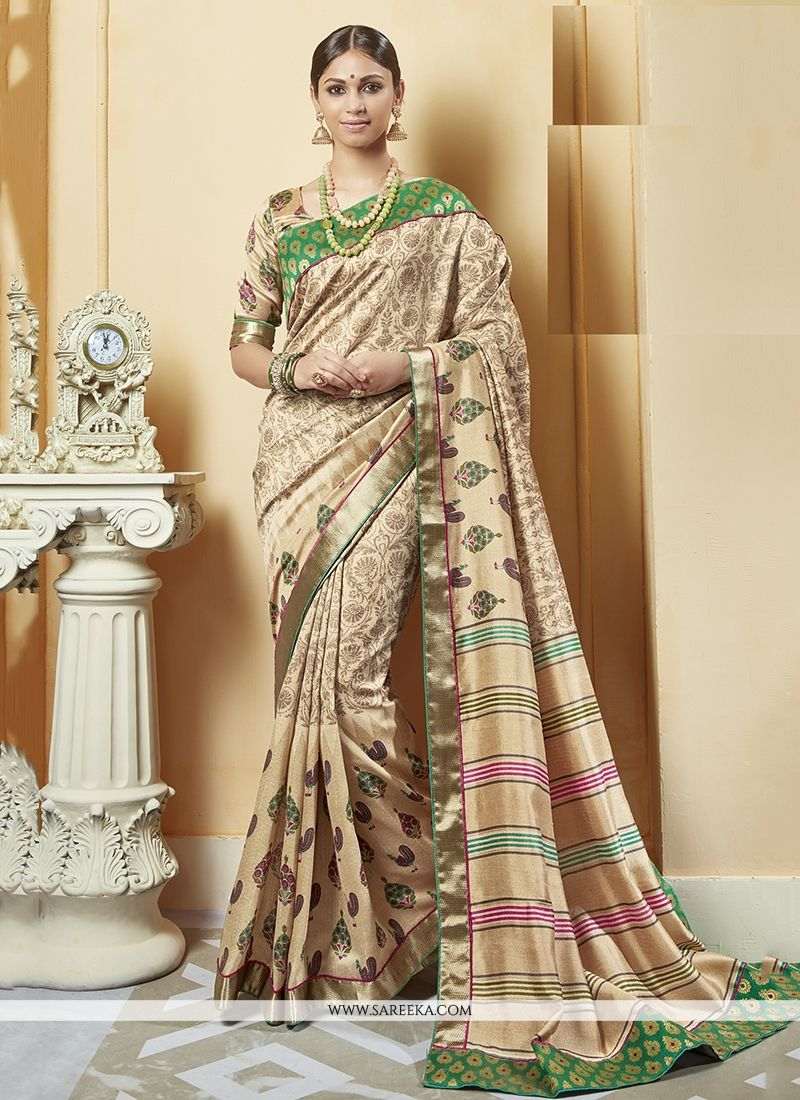 Silk Print Work Printed Saree