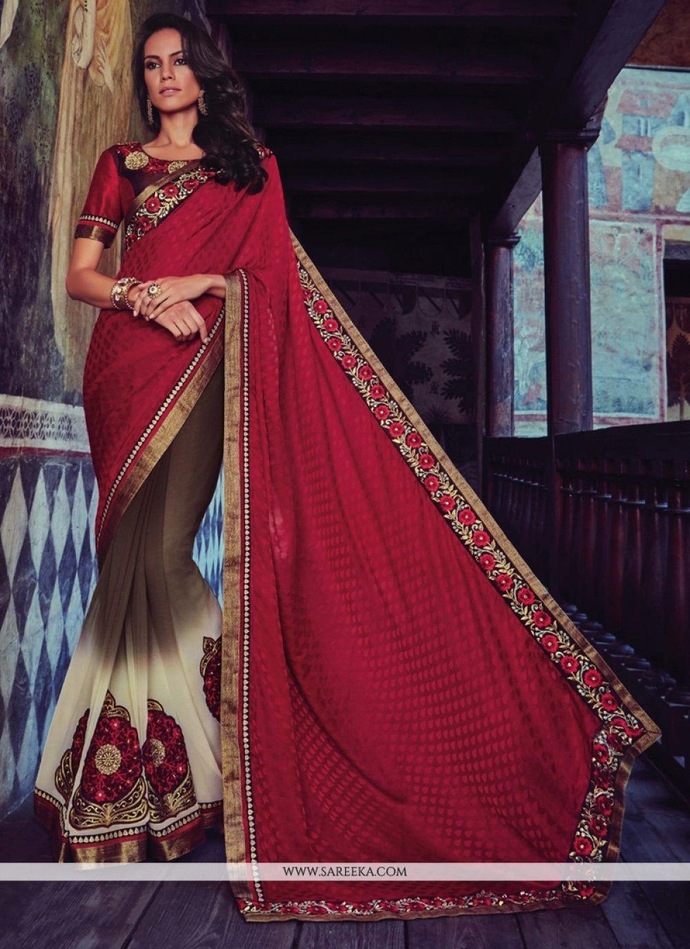Maroon Patch Border Work Jacquard Designer Half N Half saree