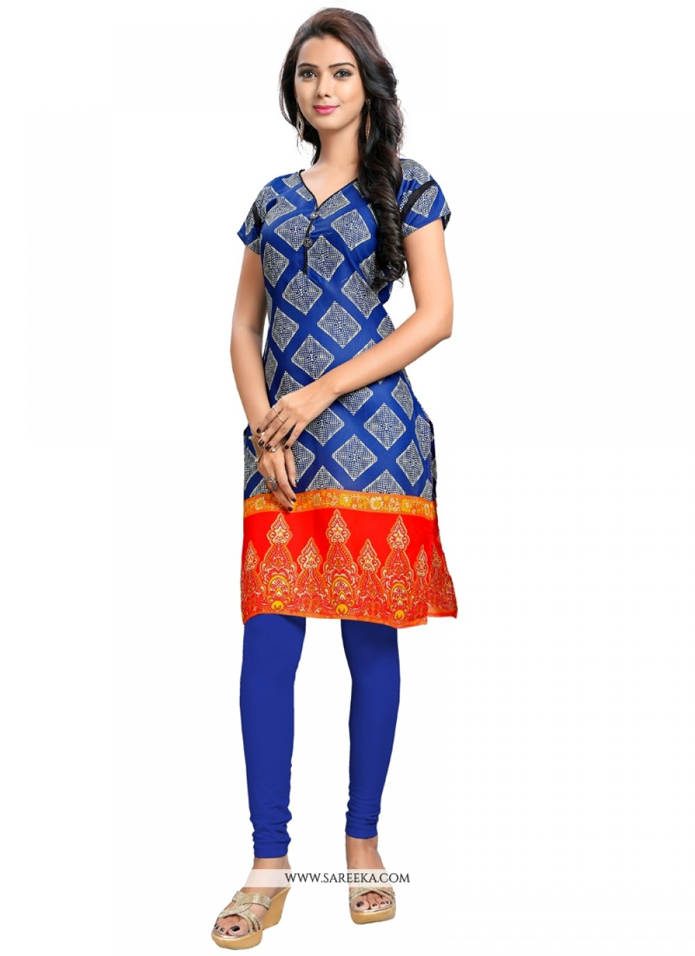 Print Work Blue Party Wear Kurti