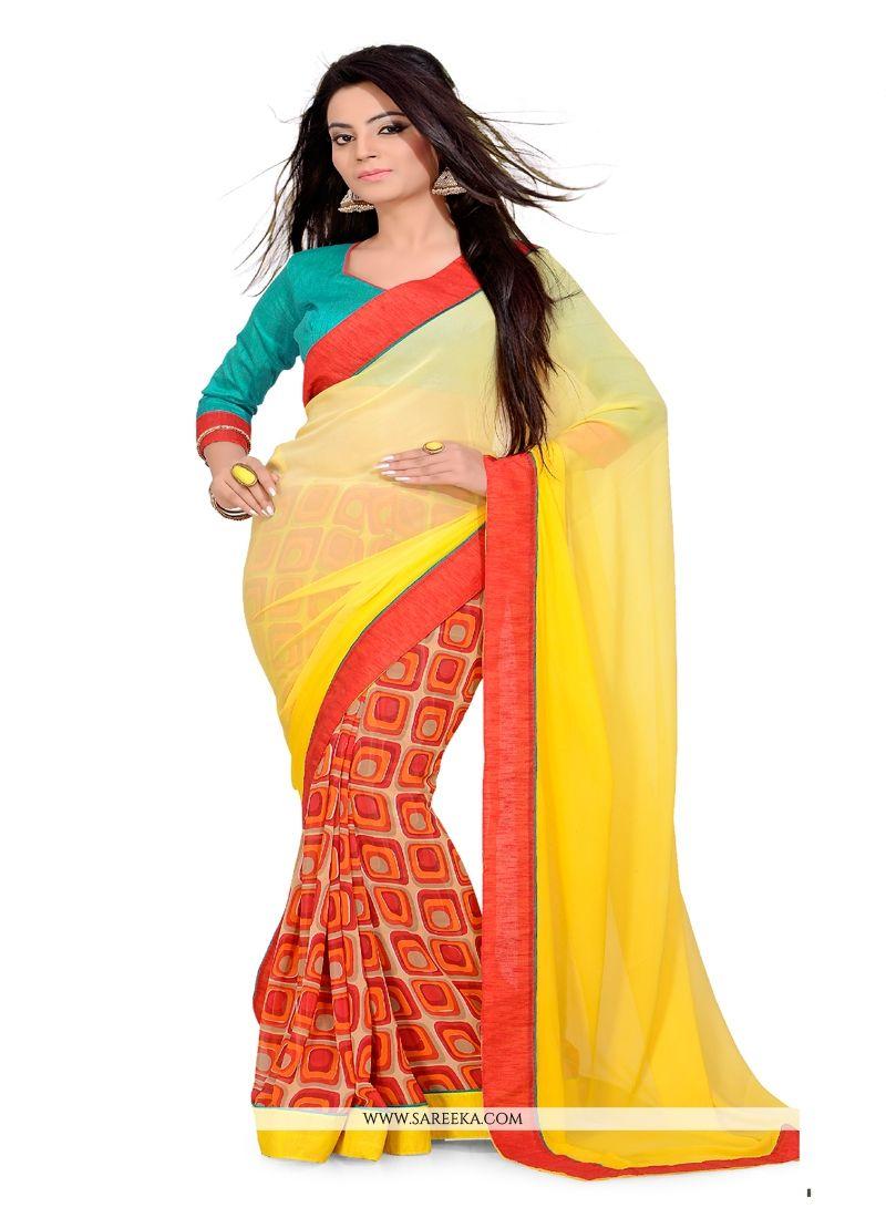 Print Work Multi Colour Casual Saree