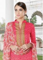 Rose Pink Print Work Cotton Satin Designer Palazzo Salwar Suit