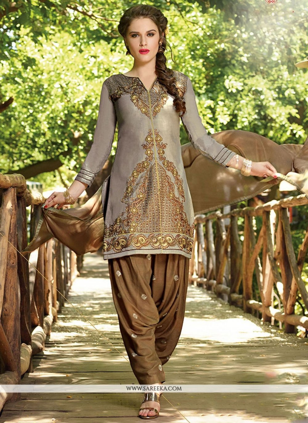 Cotton   Grey Designer Patiala Salwar Kameez
