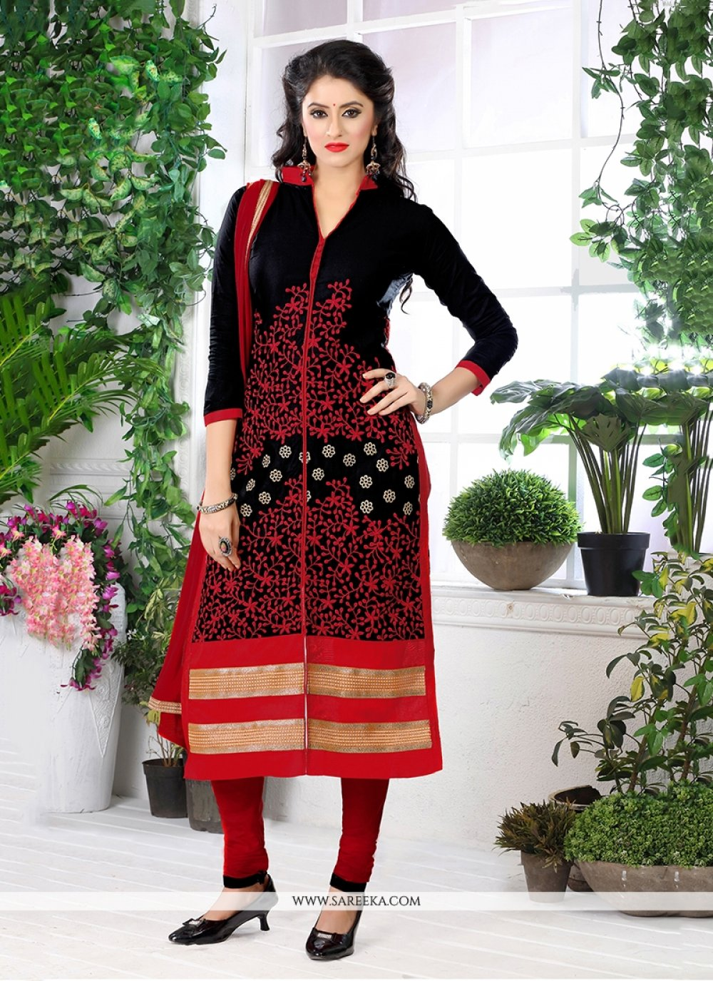 Embroidered Work Cotton   Black and Red Churidar Designer Suit