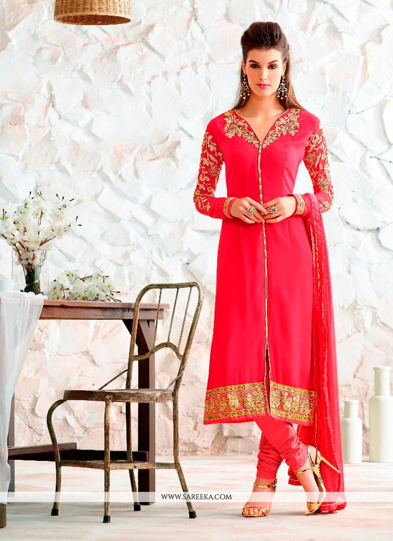 Buy red churidar designer suit online canada for Online suit builder