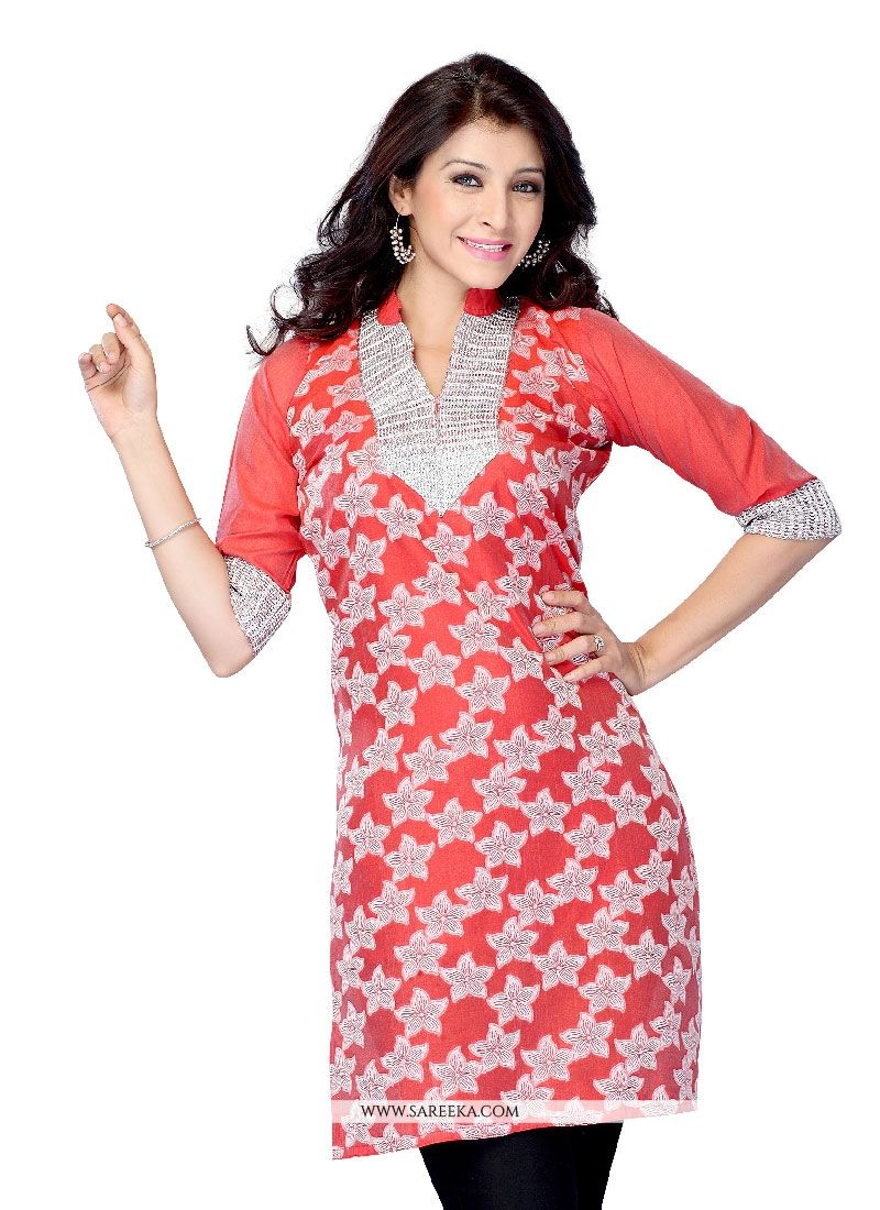 Red Lace Work Casual Kurti