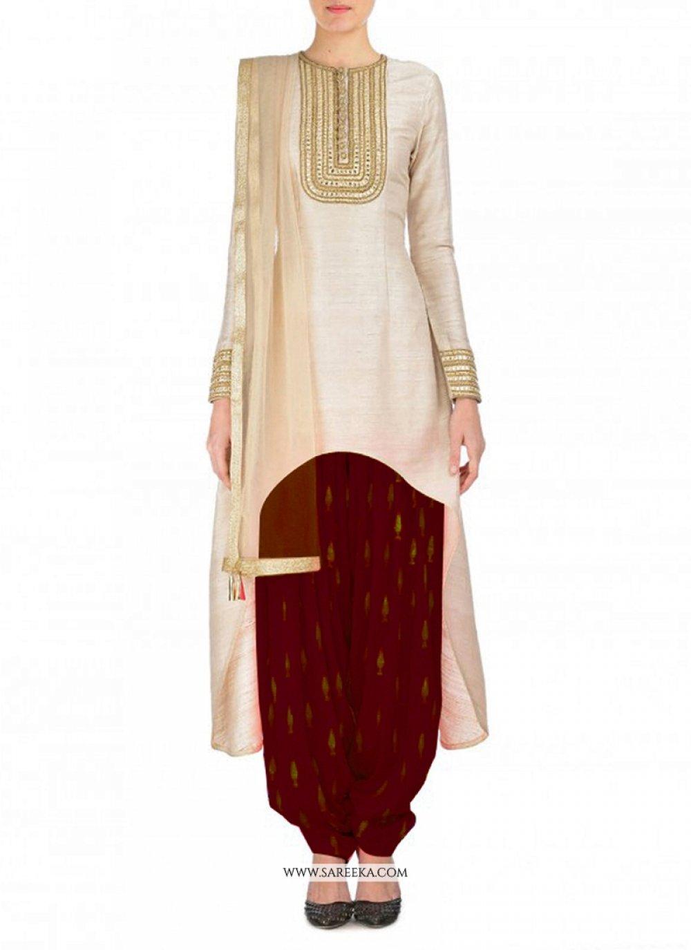 Embroidered Work Raw Silk Punjabi Suit