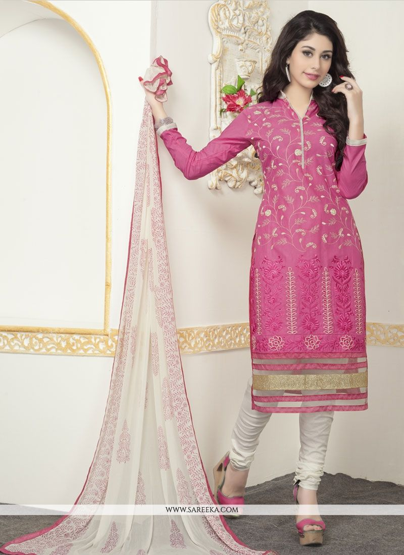 Buy Subtle Cotton Pink Churidar Designer Suit Online at best price