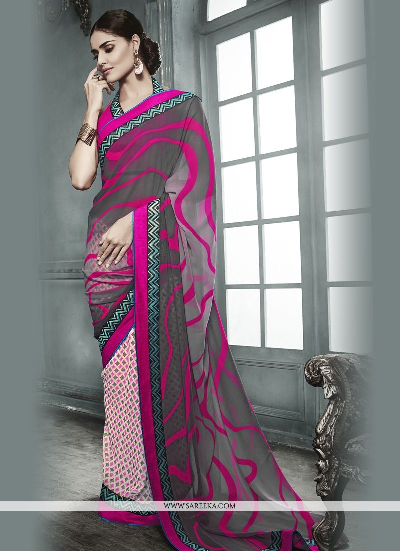 Georgette Multi Colour Print Work Designer Saree