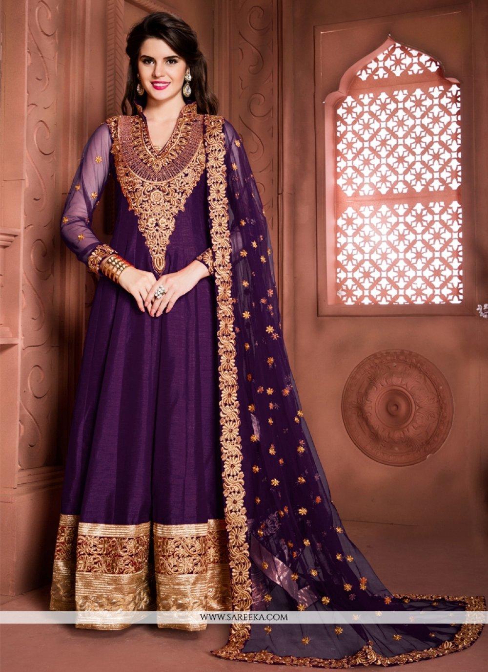 Patch Border Work Banglori Silk Designer Floor Length Suit