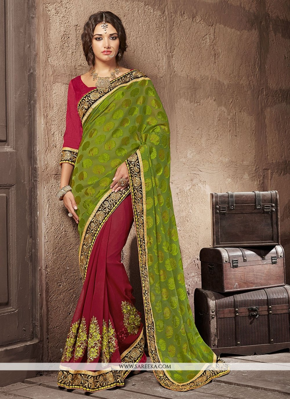 Patch Border Work Brasso Georgette Designer Saree