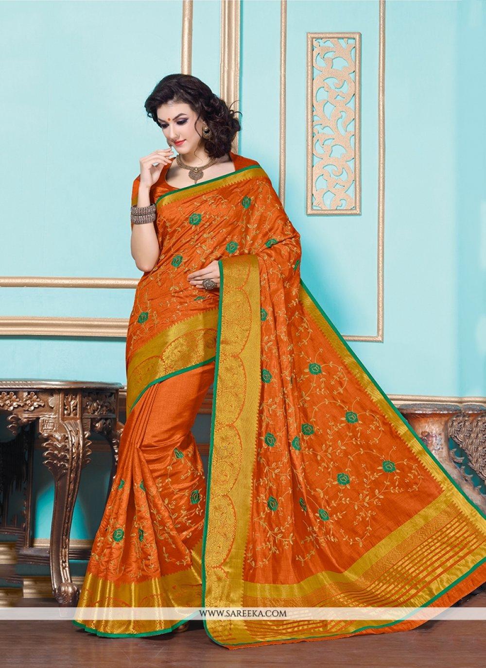 Patch Border Work Tussar Silk Designer Saree
