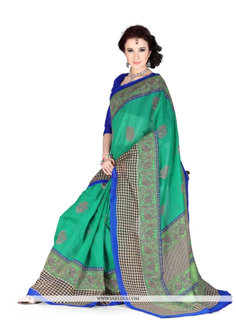 Art Silk Green Casual Saree