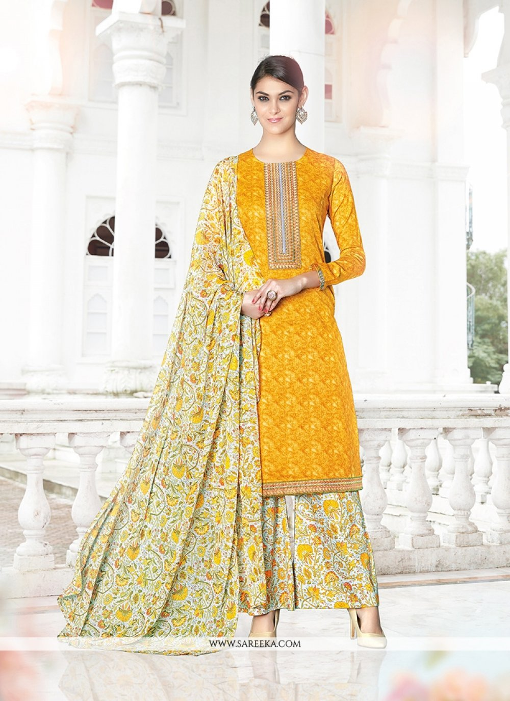 Cotton Satin Print Work Designer Palazzo Salwar Suit