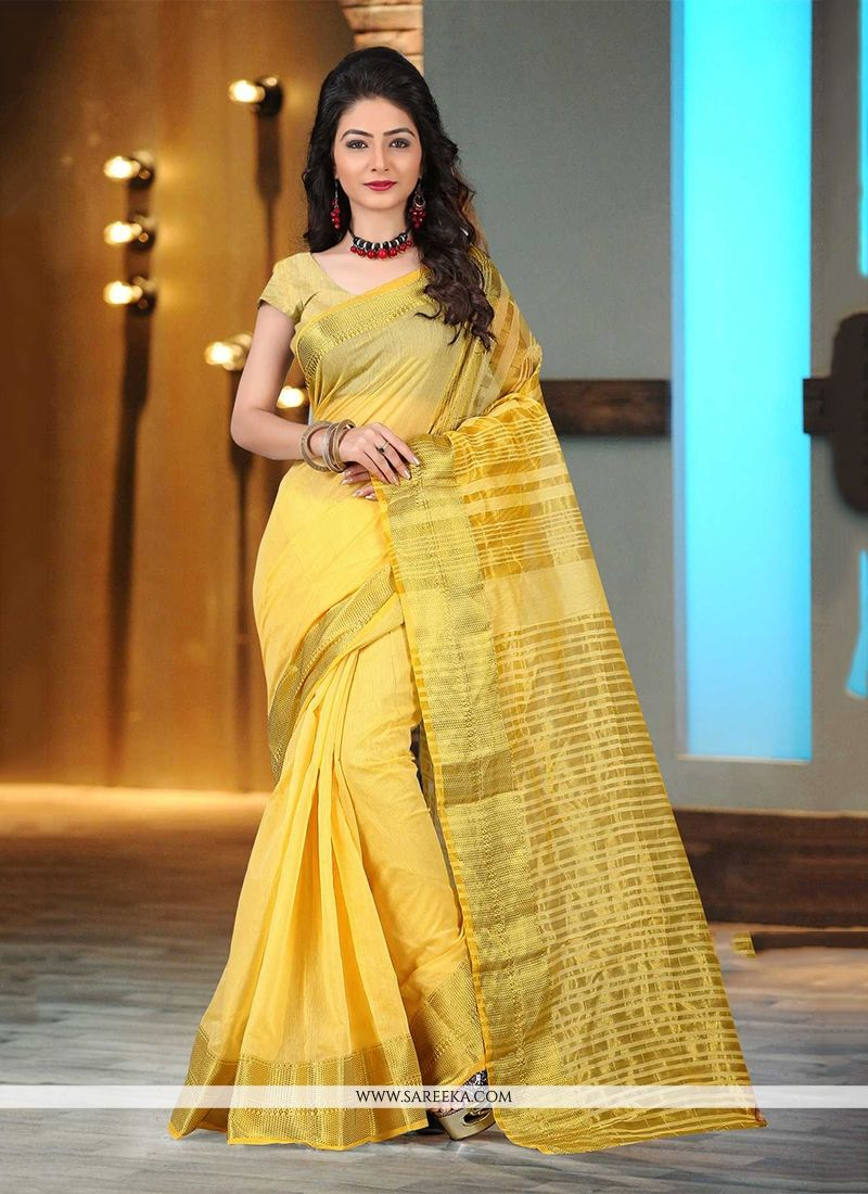Yellow Patch Border Work Casual Saree