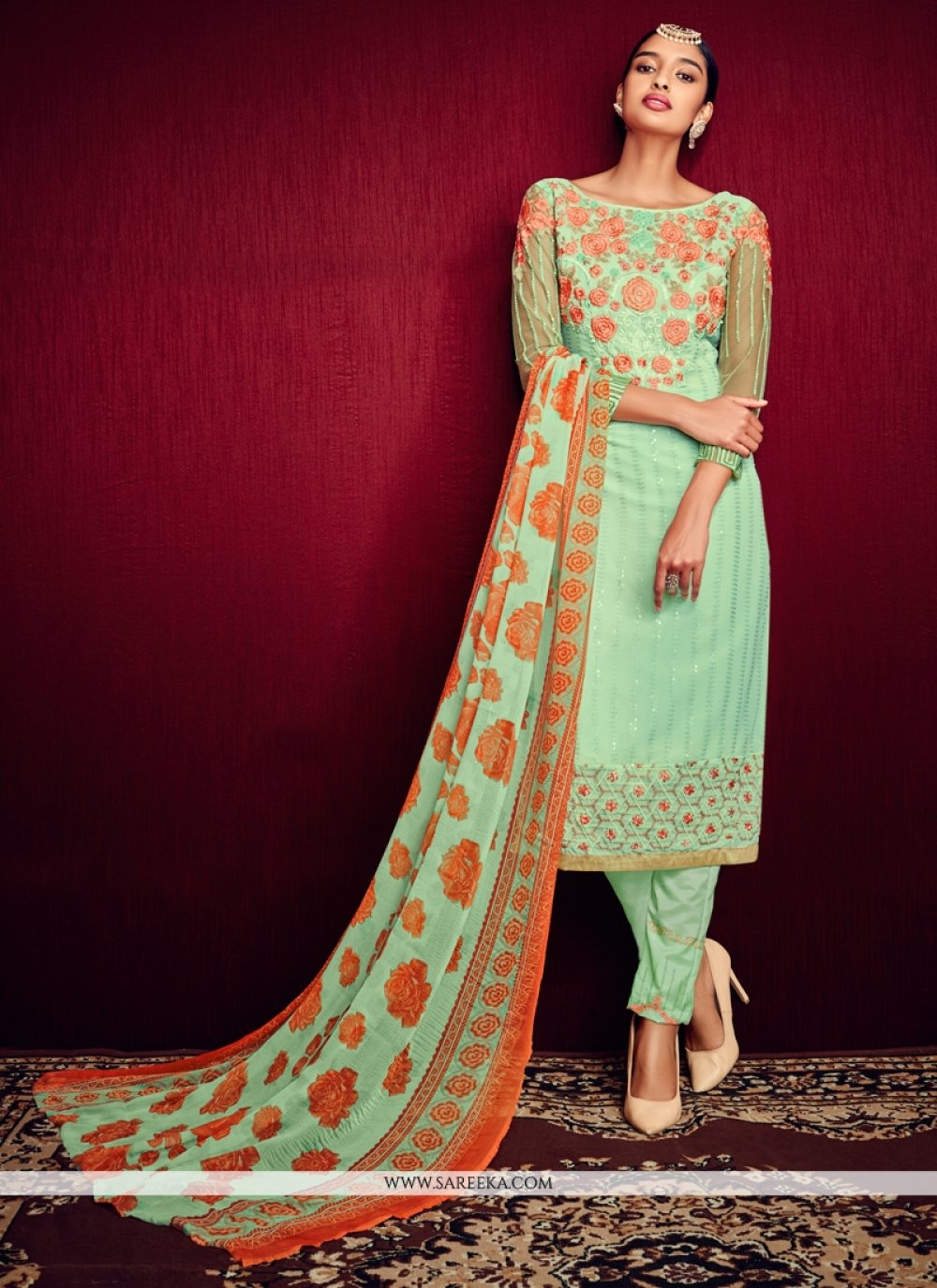 Embroidered Work Pant Style Suit