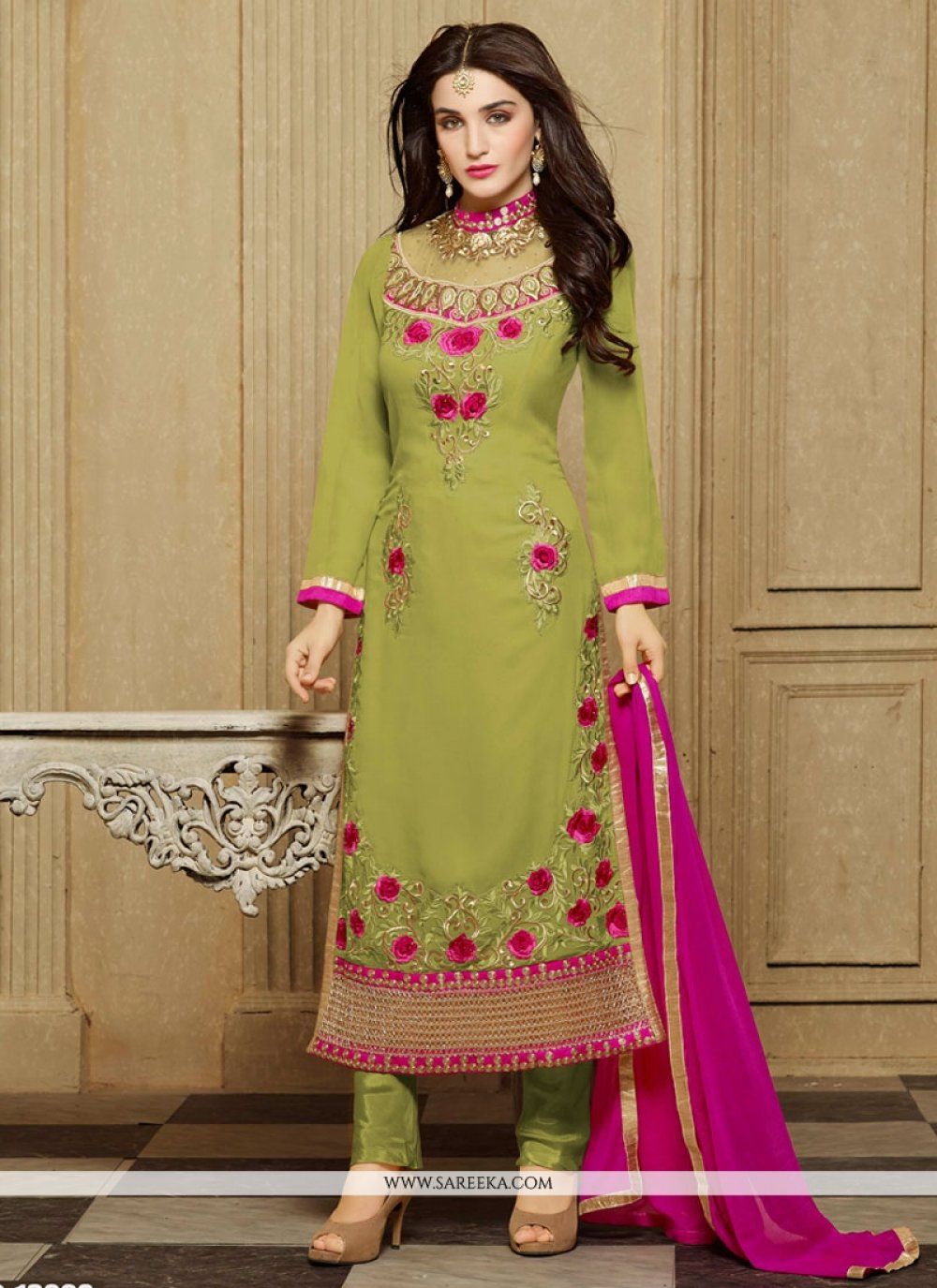 Faux Georgette Sea Green Designer Straight Salwar Kameez