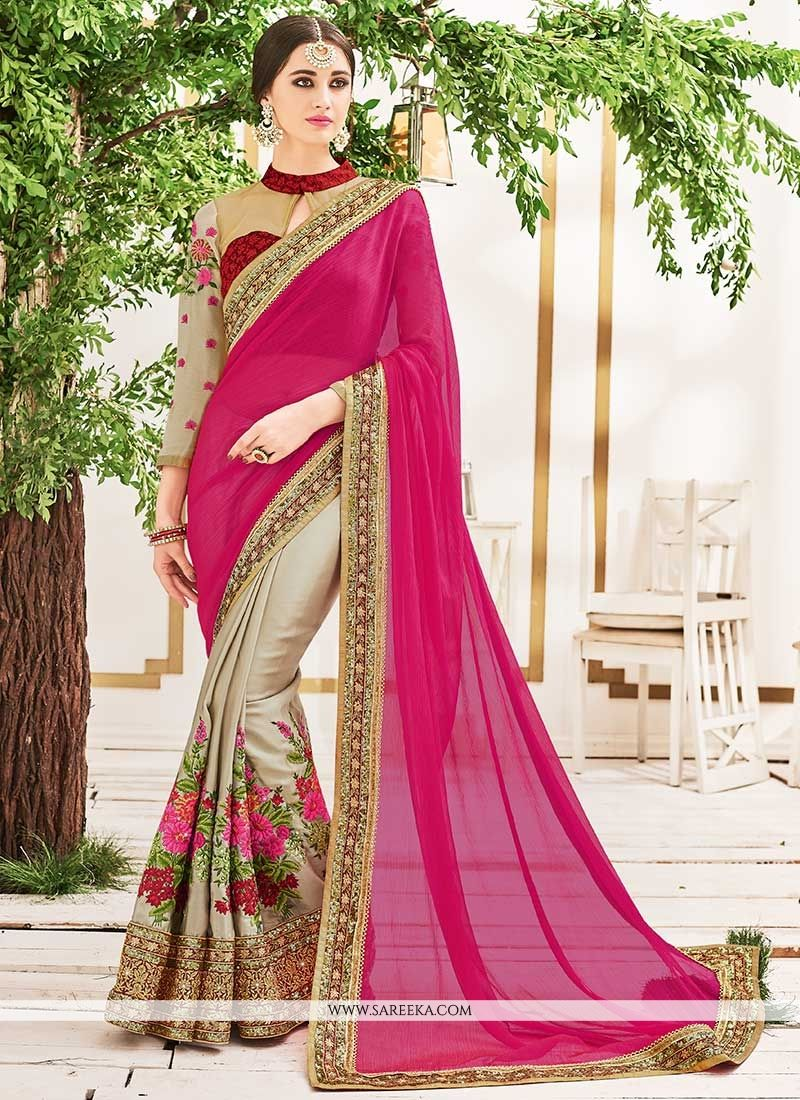 0f07a0c26f96e Buy Patch Border Work Beige and Hot Pink Faux Chiffon Half N Half Designer  Saree Online at lowest price -