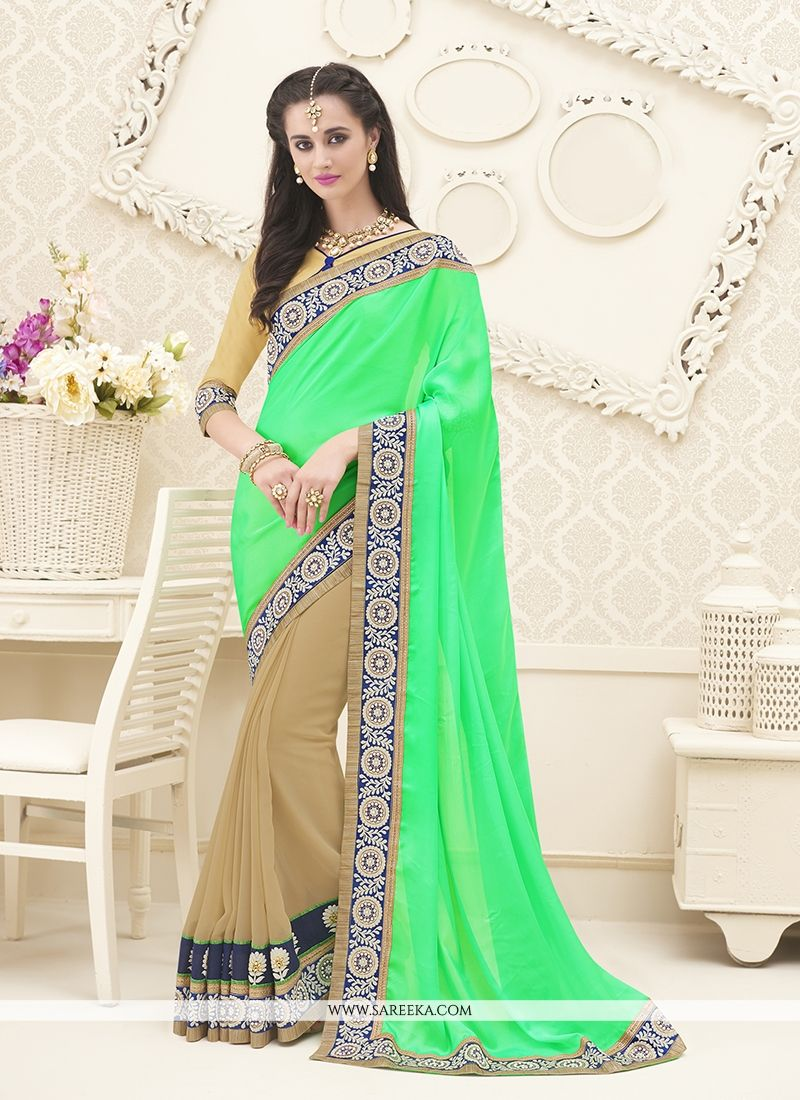 Sea Green Embroidered Work Designer Saree