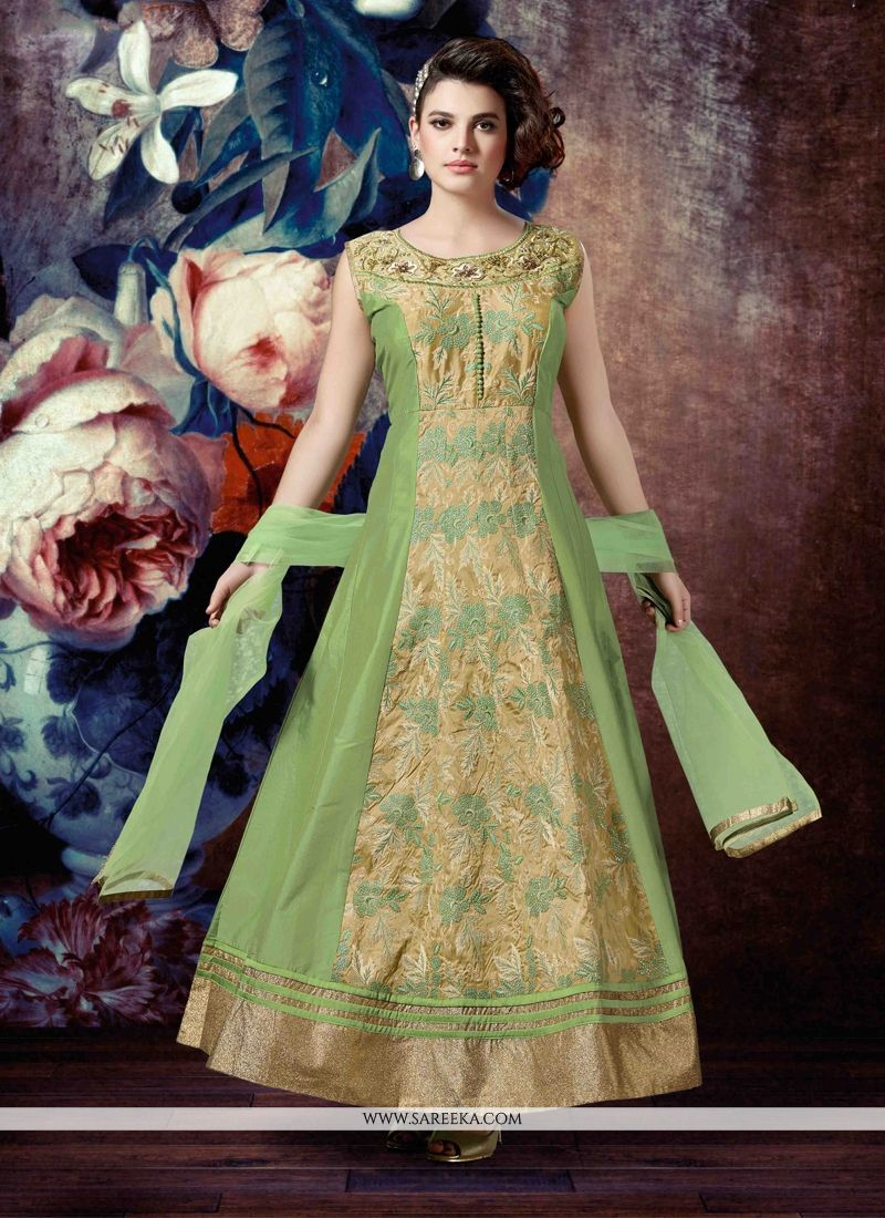 Silk Embroidered Work Anarkali Salwar Kameez
