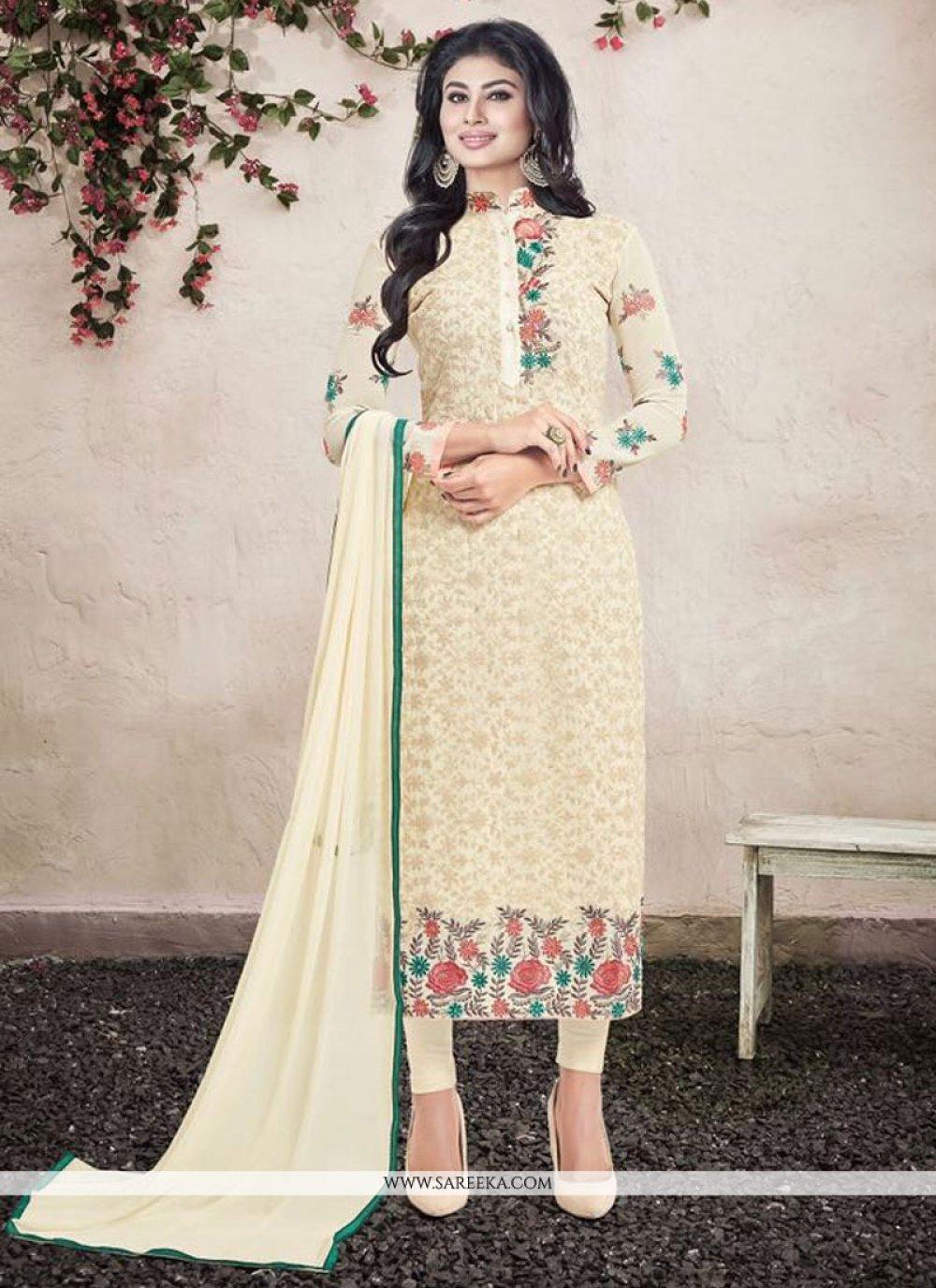 Cream Patch Border Work Georgette Designer Straight Salwar Kameez
