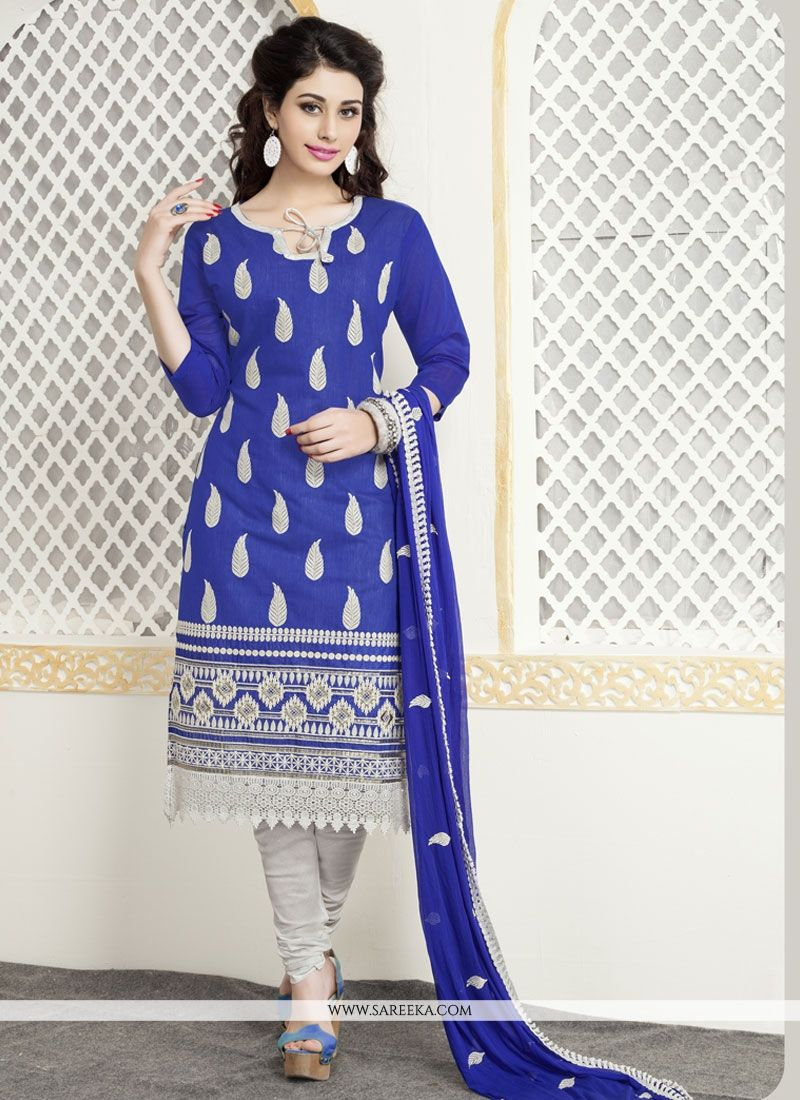 Embroidered Work Blue Cotton   Churidar Designer Suit