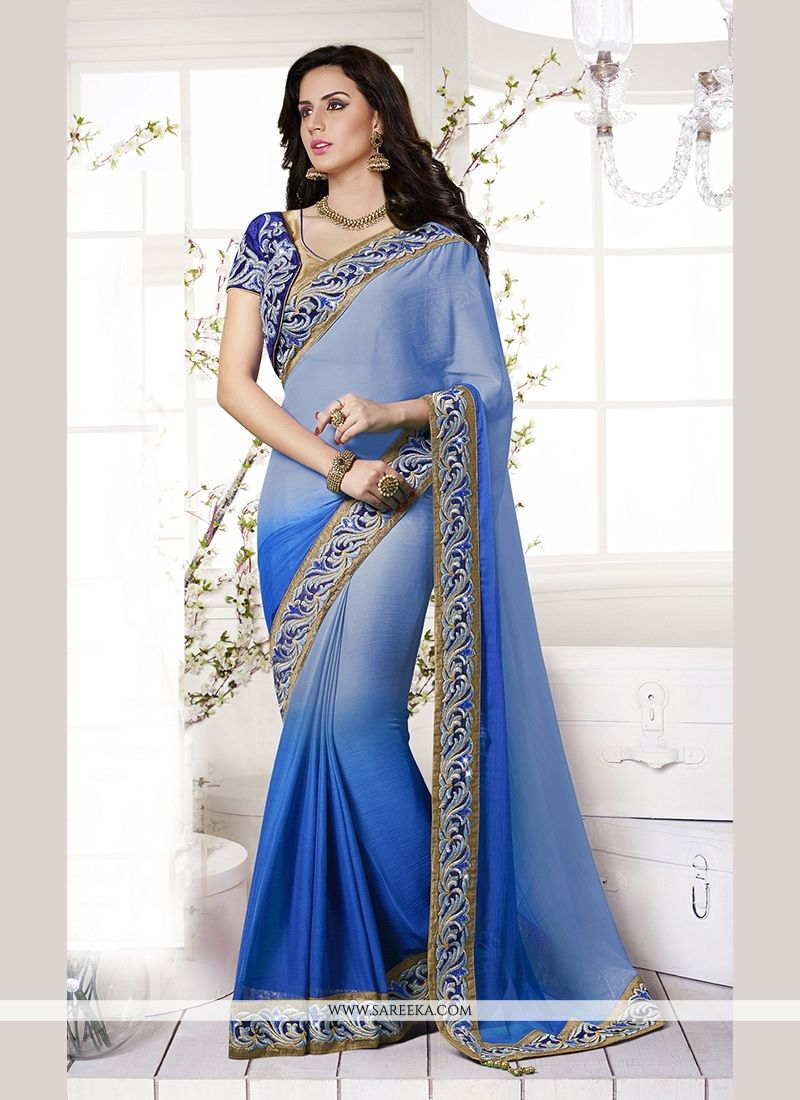 Faux Chiffon Patch Border Work Classic Designer Saree