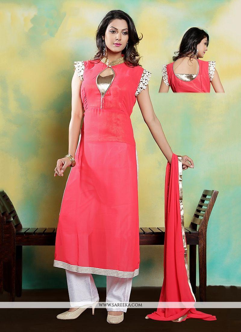 Rose Pink Embroidered Work Designer Suit