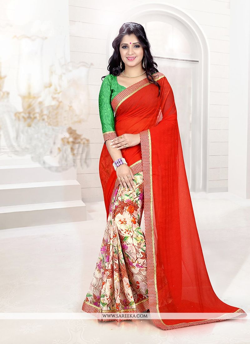 Faux Chiffon Red Casual Saree