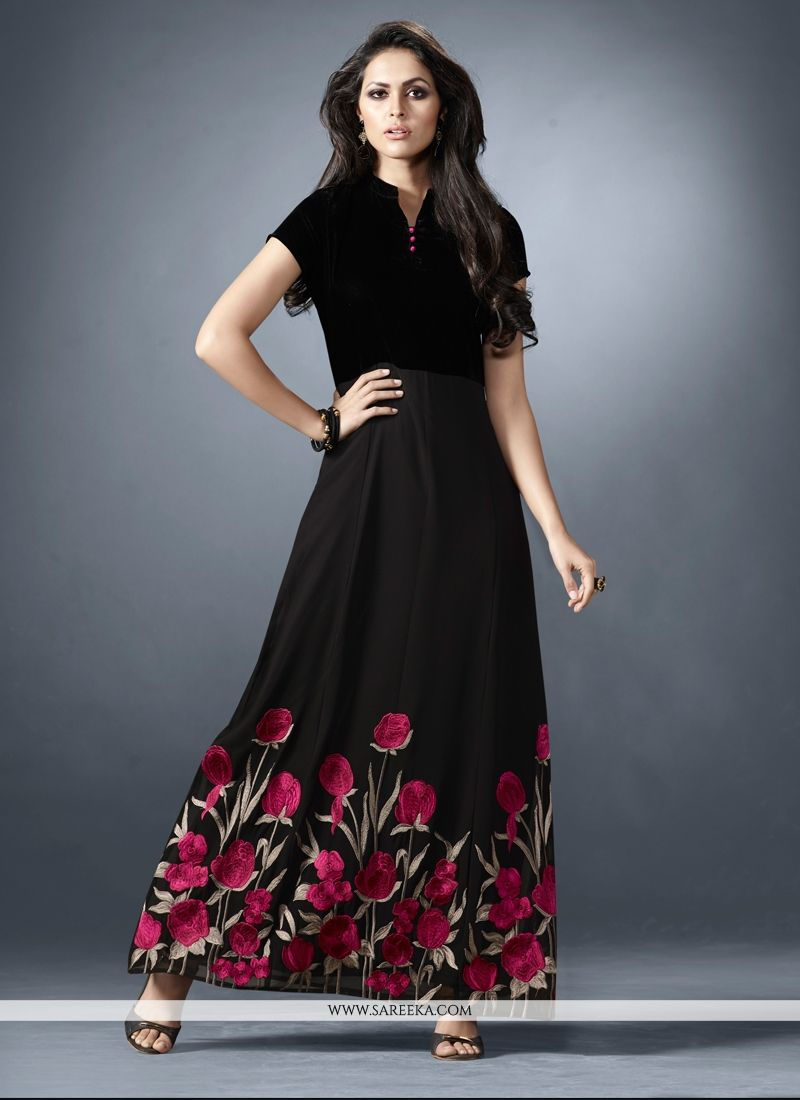 bb80a3ab1d8 Buy Print Work Black Designer Kurti Online at lowest price -