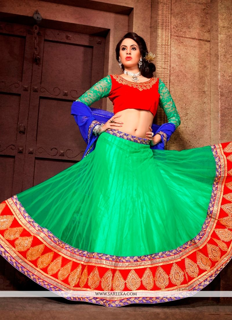 Sea Green Embroidered Work Net A Line Lehenga Choli