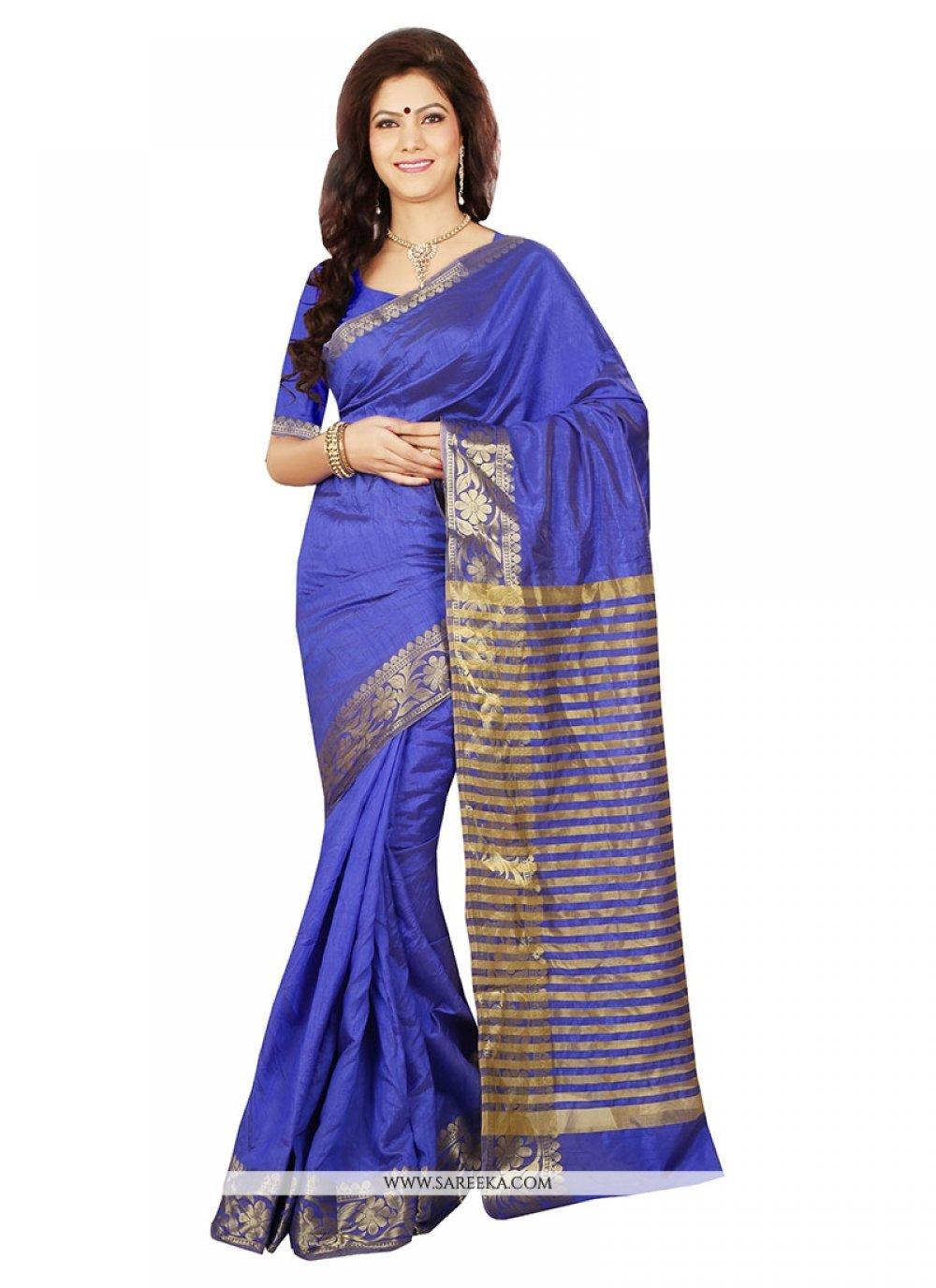 Art Silk Patch Border Work Designer Saree