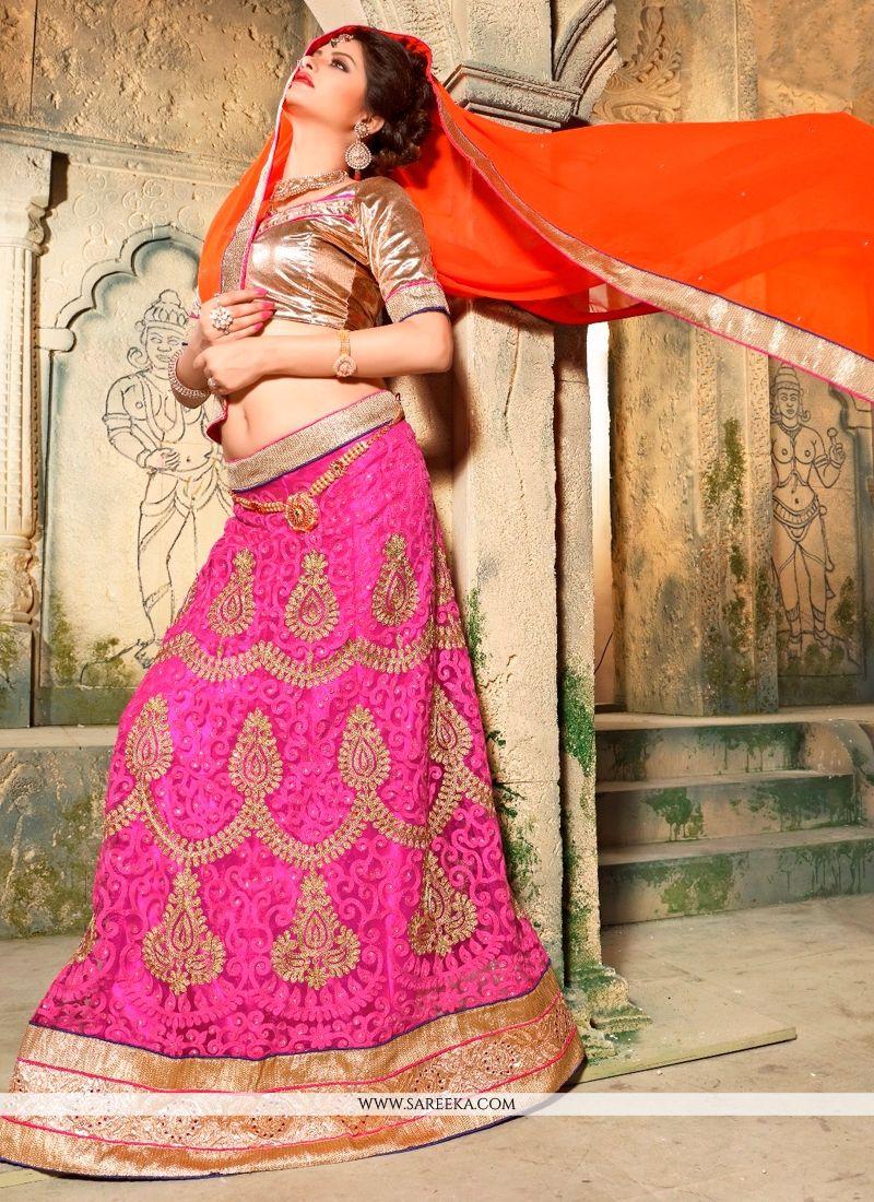 Embroidered Work Pink Net A Line Lehenga Choli
