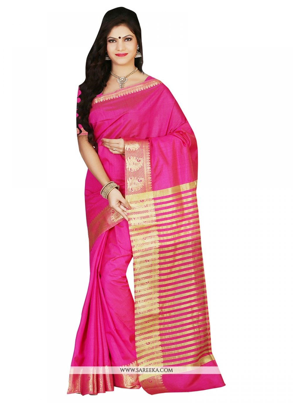 Art Silk Hot Pink Designer Saree
