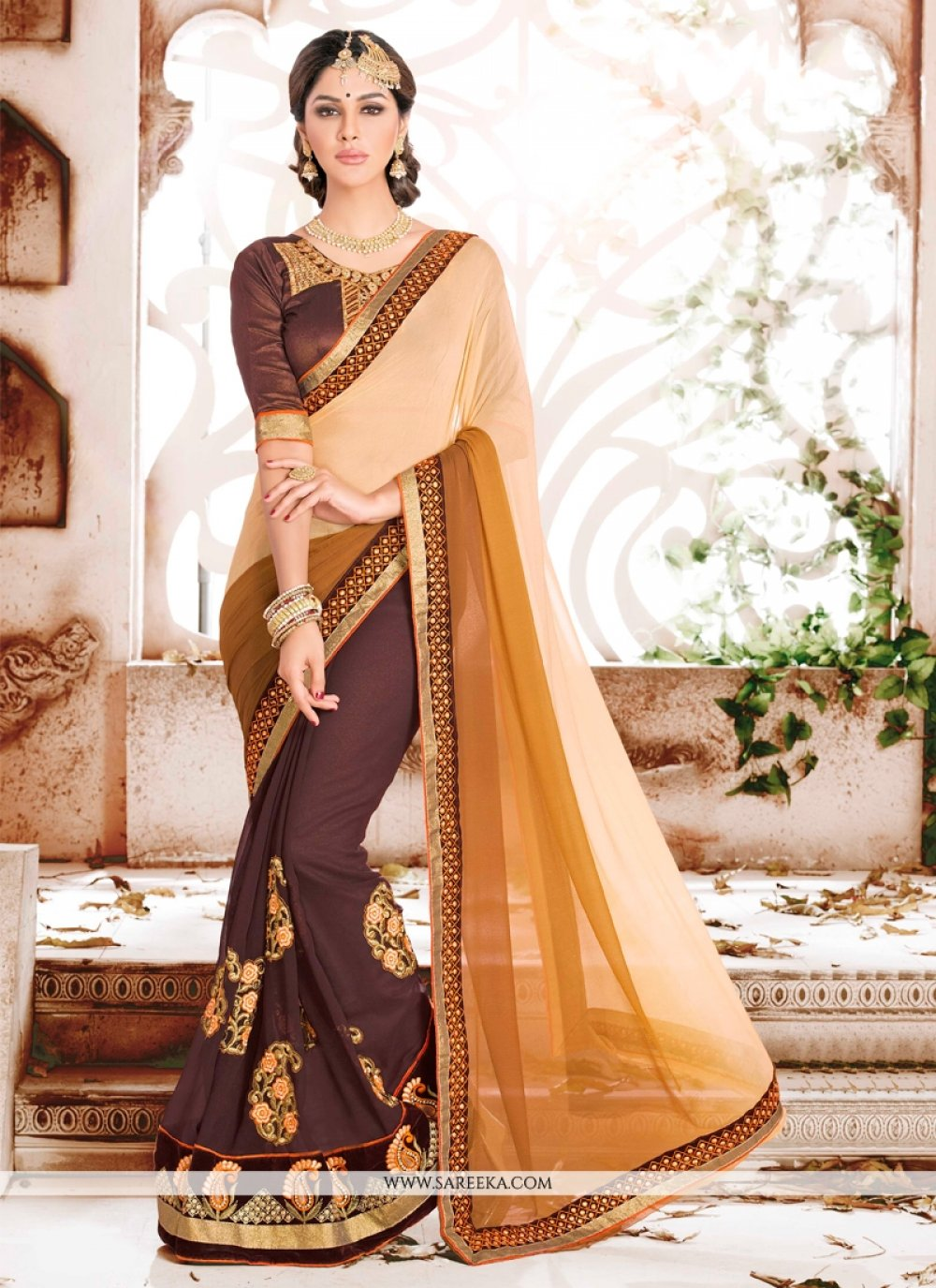 Georgette Brown Designer Saree