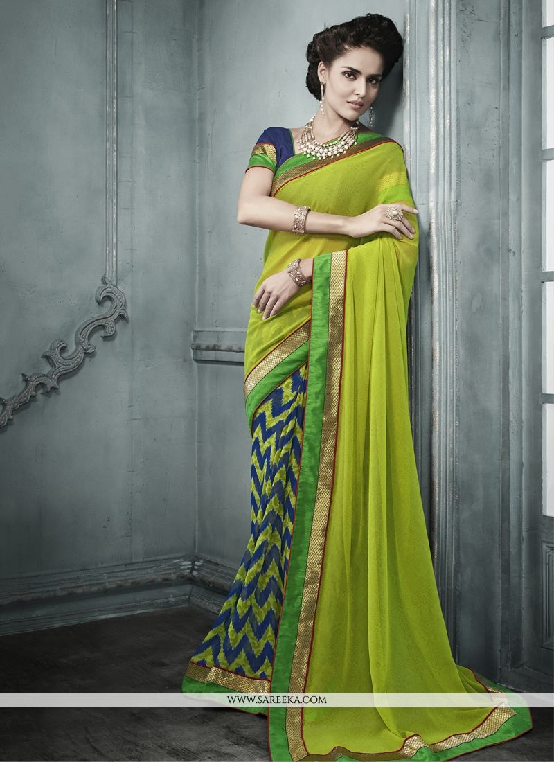 Green Print Work Georgette Designer Saree