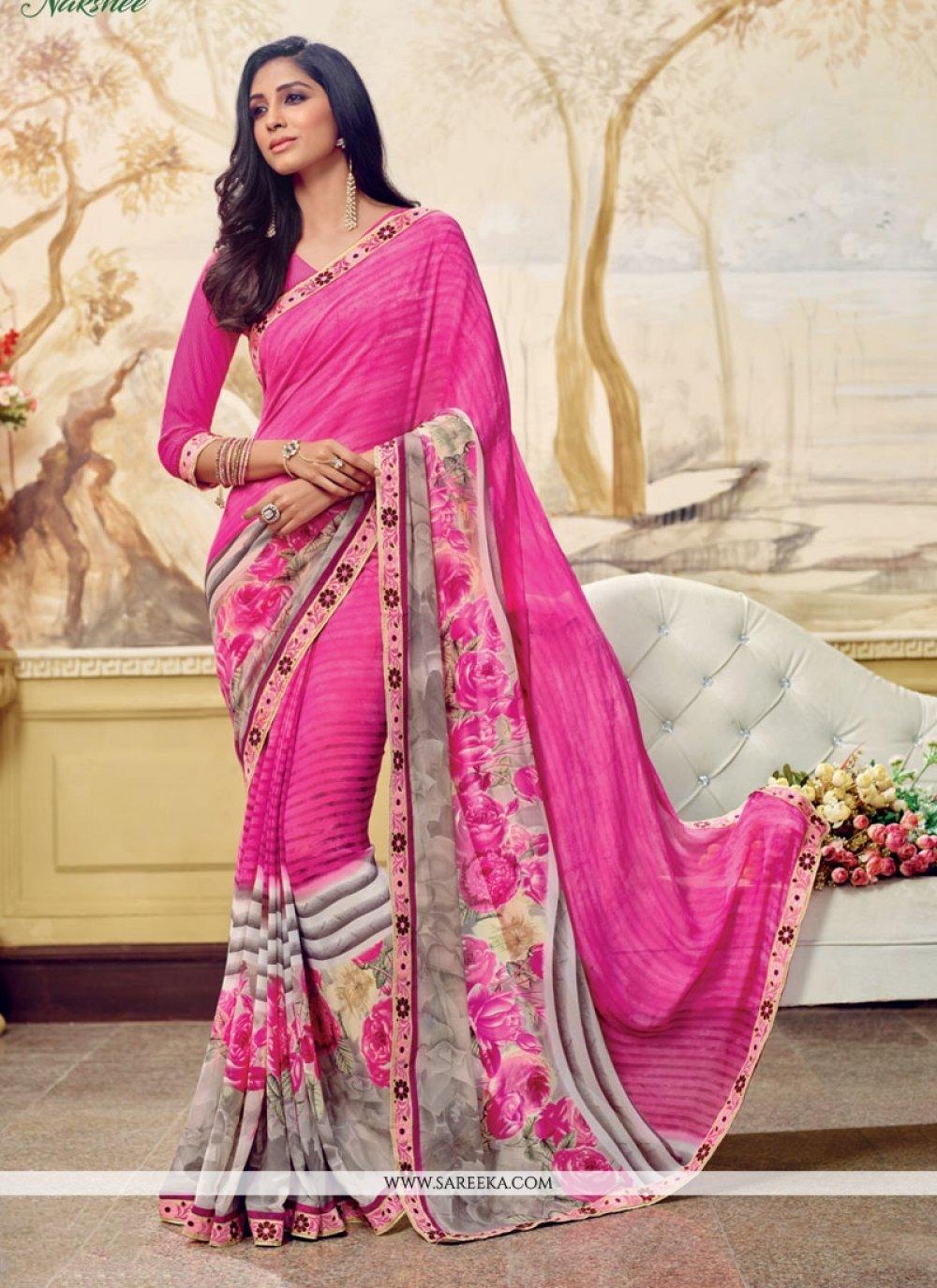 Pink Print Work Casual Saree
