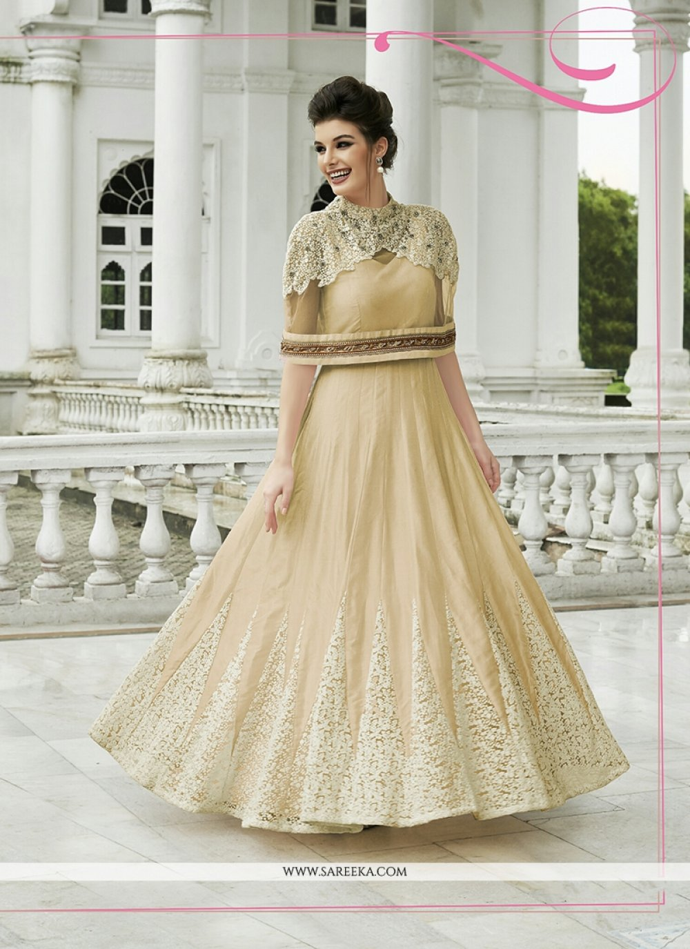 Resham Work Raw Silk Anarkali Salwar Kameez